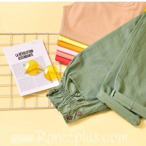 شلوار مام استایل رنگی جیب جلو کد 424